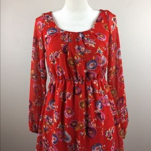 anthropologie needle and thread red dress s